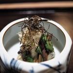 恵比寿 くろいわ - 大徳寺麩 山菜 茄子