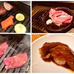 熟成焼肉 肉源 - お店の方が 焼いてくれる 黒毛和牛の すき焼き風 おにぎり からの スタート ♪