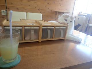 猫カフェちぐら - アップルジュースと、引き出しの中の人間用おやつ ルイ「おいしいニャか?」