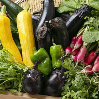 野菜は当店所有の畑で栽培。力強い旨味を味わってください