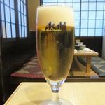 天ひろ - 生ビール アサヒスーパードライ グラス 150円(税別)。      2019.06.18
