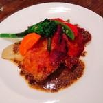 オステリア マツモト - 福味鳥のポワレ  大振りの野菜が6~7種類添えられています