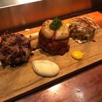 鉄板台所 かちゃぐり屋の とっとき - 小さなお好み焼 3種の味(豚、ホタテ、チーズキムチ)平日限定5食 2,000円