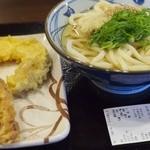 丸亀製麺 - かけ大盛+天麩羅(かしわ、南瓜)