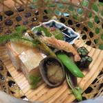 心根 - 蕨有明海苔巻き 室戸とこぶし 筍木の芽焼 鱒寿司