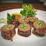 ステーキはうす 珍や - 和牛ロースのアスパラ巻[¥1800]