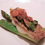 Cuisine Franco-japonaise Matsushima - 明石鯛 桜エビ・ブロッコリー アスパラガス