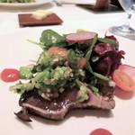 Cuisine Franco-japonaise Matsushima - 土佐清水鰹藁焼き 発酵パプリカ・ペースト 初夏野菜