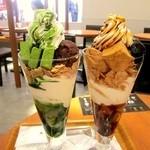 11039519 - 抹茶生チョコレートパフェと黒胡麻わらび餅パフェ