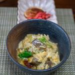 かたつむり - 2019.6 アカヤマドリタケを入れた〆雑炊、香の物