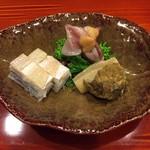 110431538 - 蕗の薹揚げ浸し、笹鰈、蛍烏賊、菜の花辛子和え、春子押し寿司
