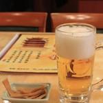 清香楼 - 生ビール・・・泡が多いかな・・・