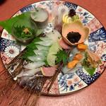 泳ぎいか・ふぐ・いわし・大阪懐石料理・遊食遊膳 笹庵 - いけすに泳ぐ!泳ぎいか お造りと寿司