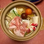 泳ぎいか・ふぐ・いわし・大阪懐石料理・遊食遊膳 笹庵 - スペイン産豚しゃぶしゃぶ 完成図