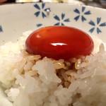 泳ぎいか・ふぐ・いわし・大阪懐石料理・遊食遊膳 笹庵 - 蘭王黄身醤油漬 ご飯 フォアグラ醤油たれ