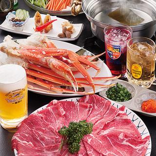 しゃぶしゃぶと蟹を堪能できる贅沢コースが好評です。