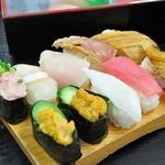 さかな大食堂 渚 - 寿司食べホ 一順目 10貫乗せたら ガリまで乗せられない(笑)