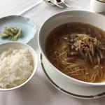 ジャスミンガーデン - ネギとチャーシューのスープそば・ザーサイ・白米