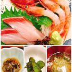 さかな屋 撰鮮 - お刺身3種 ナマコ酢、お漬物、お味噌汁
