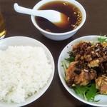 一光食堂 - 鶏唐揚げ単品580円に定食セット御飯中220円税込