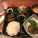 むちゃく - 真アジのゴマアジ定食=750円