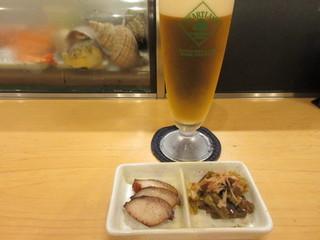 すし庵じゅん彩 - 鯨さえずりと葉わさび、ハートランドビール