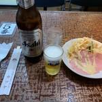 元祖とんかつカレー カツヤ - ビール大とハムサラダ