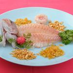 天然鯛の中国刺身 半匹/4,500円  一匹/8,000円