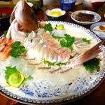 民宿 嶋津 - 料理写真:鯛しゃぶ+ 真鯛の活き造りプラン:真鯛の活き造り