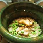 110624825 - 食事 スズキと枝豆と新生姜の土鍋ごはん