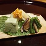 110626653 - インゲン、冬瓜椎茸炊き海苔和え、ばちこ、赤鳥貝、蓮豆腐