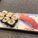 すしざんまい - 穴きゅう細巻350円と中トロ298円。 早朝営業で、この時間からこのお寿司を食べられて、とても幸せな気分です(╹◡╹) 応援します! 食べるだけですが(笑)