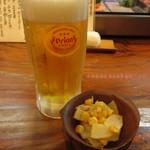 あけぼの - オリオン生ビールとお通し