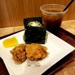 和味茶屋 こめまる - 野沢菜じゃこ/塩ザンギセット 600円