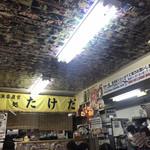 市場食堂 味処たけだ   - 天井に写真を貼ってました。