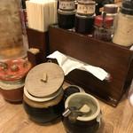 麺堂 香 - 紅生姜・辛子高菜・ニンニク