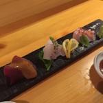 和酒 吟蔵 - カツオ黄身醤油 熟成ヒラメ 金目鯛炙り