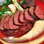 牛ハラミのステーキ 米茄子 八丁味噌 はちみつ