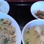 健康中華庵 青蓮 - 五目チャーハンとミニワンタン麺