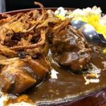 Karehanomimono - 黒カレーチキン(中盛)             ・ツナマヨ             ・豆サラダ(バジル風味)             ・フライドオニオン