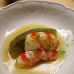 道人 - 海老の味がしっかりとした淡路の車海老。賀茂茄子の含め煮。含め煮の仕上がりも完璧。