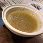 旬肴地酒 寅八 - バーニャカウダのソース。固形燃料で温めて。