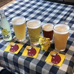 ミノオ ビール ウエアハウス - ずらっと、皆が買ったものを並べる
