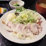 定食あさひ - つくば鶏の蒸し鶏定食(850円)