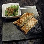 バー エグザゴーヌ - 青いポテトサラダのメルトサンド