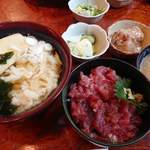 芝浜 - 料理写真:たぬきそば&ミニまぐろ丼セット 800円