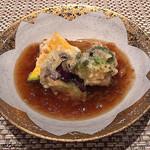 蕾 - 山芋饅頭にコリンキー、茄子、ブロッコリーの天ぷら