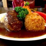 浅井食堂 - 料理写真:ハンバーグ エビクリームコロッケ