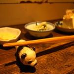 シロクマ - 肉野菜炒め定食 (1,150円) 本日の小鉢 (冷やっこ, だしまき玉子, カブのすりごまあえ)