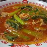 太陽のトマト麺 - 鶏チャーシュー、小松菜がドッサリ入ってます。